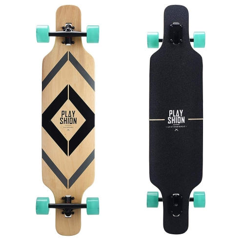 Playshion 39 Inch Drop Through Freestyle Longboard Skateboard Cruiser